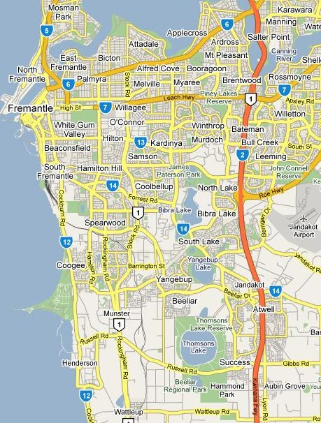 Driving School South of the River Perth Map